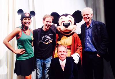 Behind the scenes of Stars of the Saga with Tiya Sircar, James Arnold Taylor, Warwick Davis, Jeremy Bulloch, and Jedi Mickey