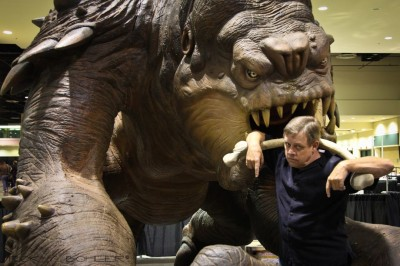 Mark Hamill with Roxy the Rancor