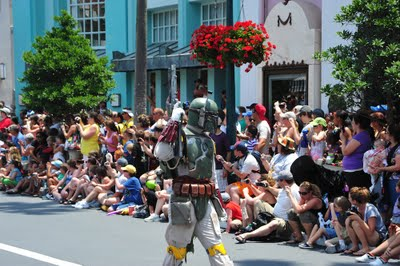Boba Fett marching in a Disney World parade