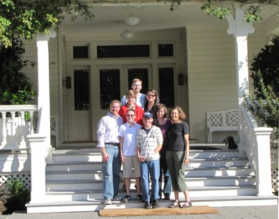 The Riddle and Dodgens families on the porch of Skywalker Ranch