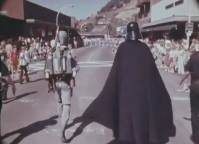 Boba Fett and Darth Vader marching in the San Anselmo Country Fair parade