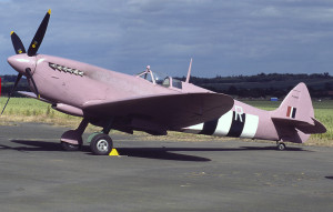 A representation of the pink  Spitfire airplane used during World War II