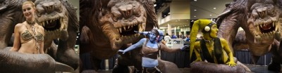 Star Wars fans with Roxy the Rancor