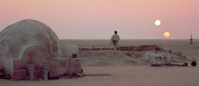 Luke Skywalker watching the Tatooine suns