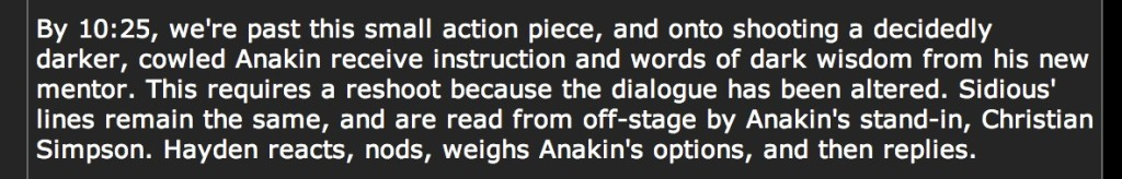 Excerpt from Pablo Hidalgo's set diary on StarWars.com