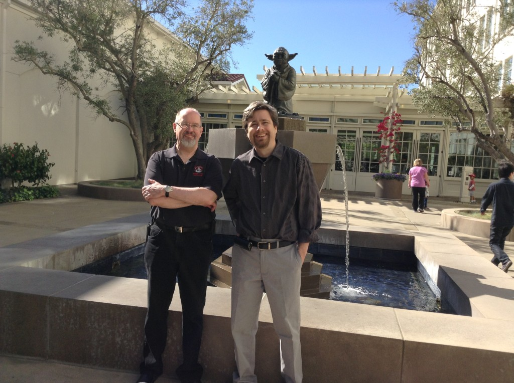 With Timothy Zahn, from our visit this year to Lucasfilm. You'd think with Yoda out front I wouldn't have got us lost.
