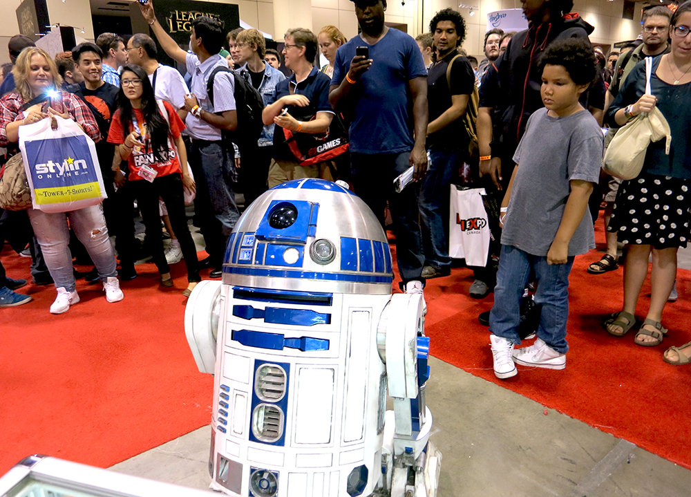 Whenever R2-D2 rolled into the Rebels booth he made sure to remind Chopper that he was not the only droid who could thrill a crowd.