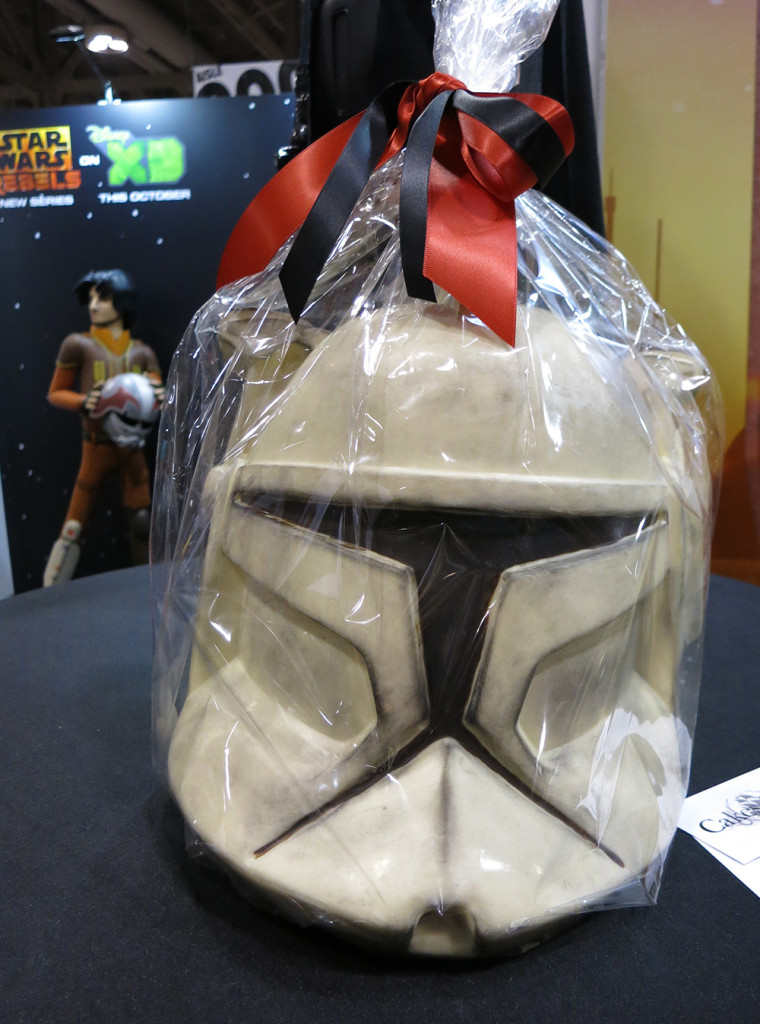 Clone trooper helmet made entirely out of white chocolate. Excellent stuff!