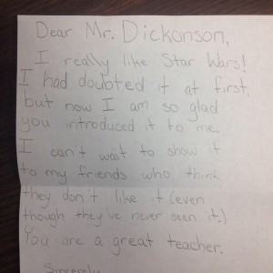 A note from one of Craig's students after experiencing Star Wars.