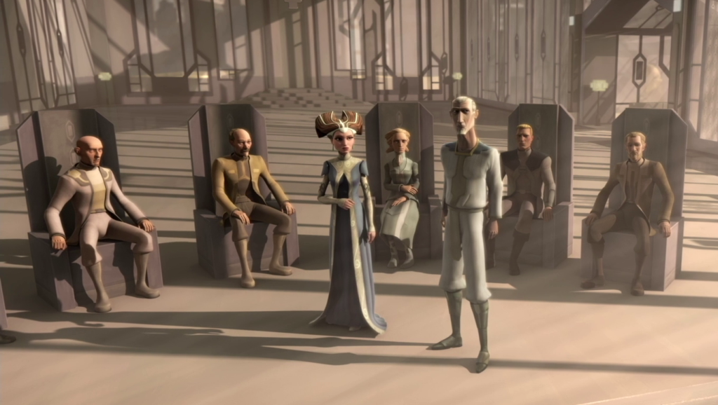 The New Mandalorians stood for pacifism and neutrality under the leadership of Dutchess Satine.