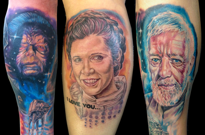 Emperor Palpatine, Princess Leia and Obi-Wan Kenobi tattoos by Josh Bodwell.