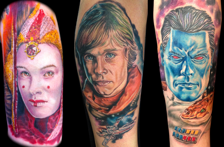 Queen Amidala, Luke Skywalker and Grand Admiral Thrawn tattoos by Josh Bodwell.