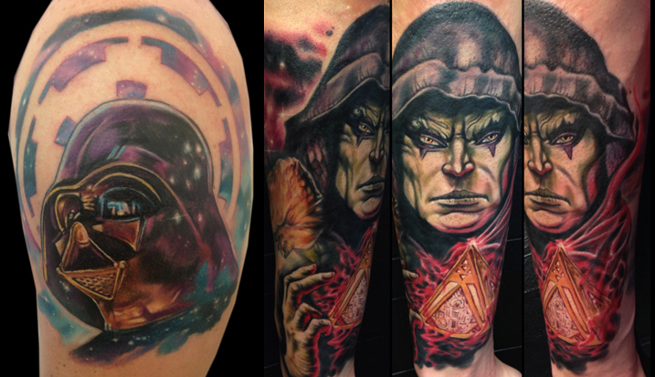 Darth Vader and Darth Bane Star Wars tattoos by Josh Bodwell.