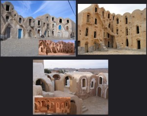 Slave Quarters Row; from left to right, clockwise: Medenine, Ksar Ouled Soltane & Ksar Hadada.
