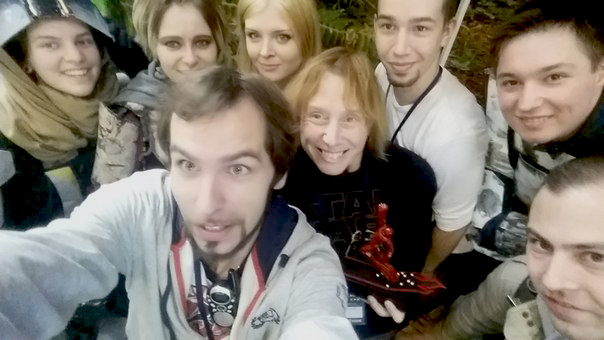 Mando Selfie. I was fortunate to get to meet the members of the Red Fist Clan, the Mandalorian Merc chapter that is in Russia. I believe all their members were at Comic Con. They gave me the striking Mandalorian sculpture I'm holding in the picture.