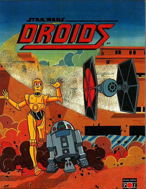 The artwork on the cover of Plaza Joven's Droids novelization (1986).