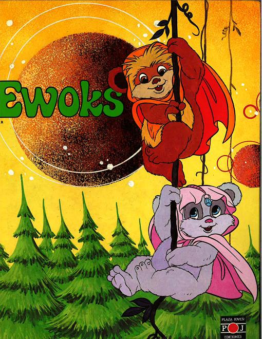 The artwork on the cover of Plaza Joven's Ewoks storybook (1986).