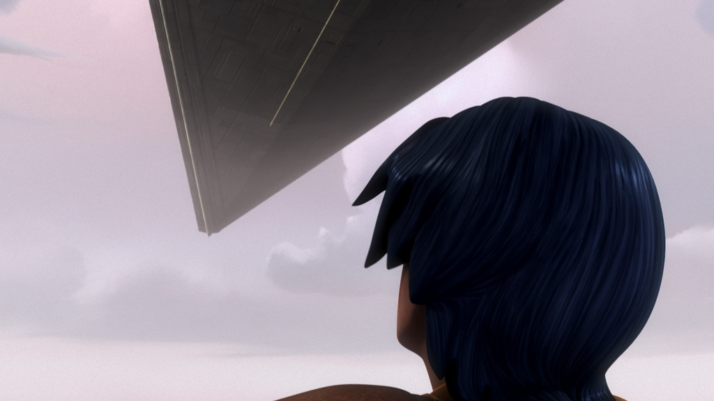 Ezra watches a Star Destroyer in Star Wars Rebels
