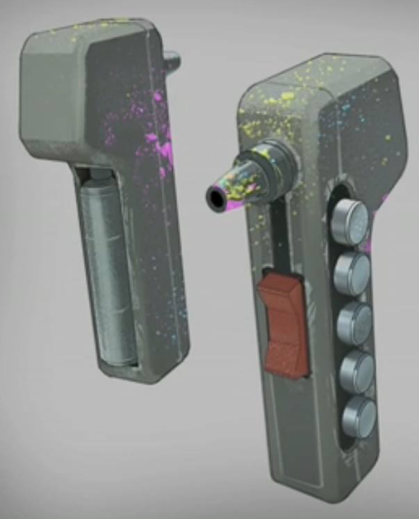 Visual reference used for Sabine's paint sprayer, used to create the prop.