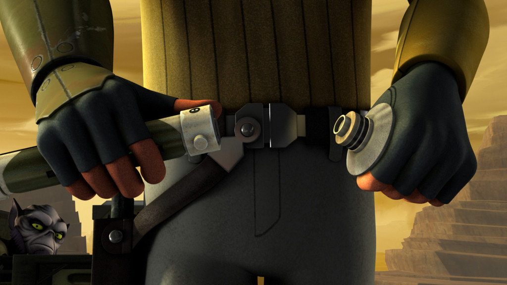 Kanan assembles his lightsaber in Star Wars Rebels