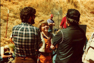 Lucas and Walker on the set of Caravan of Courage