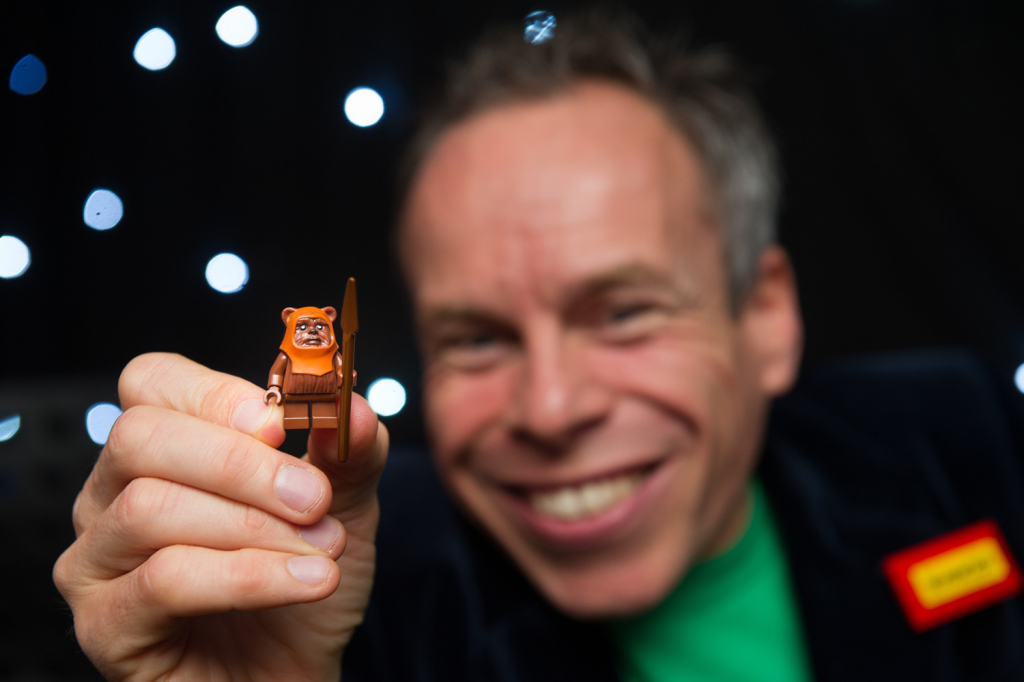 Warwick Davis with Wicket LEGO minifigure