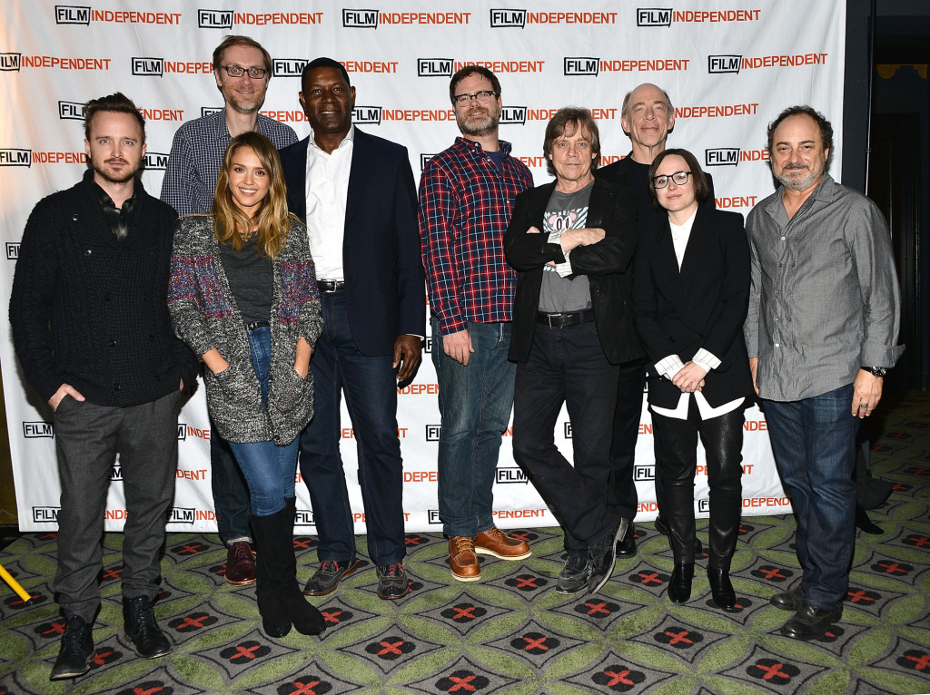 Aaron Paul, Jessica Alba, Stephen Merchant, Dennis Haysbert, Rainn Wilson, Mark Hamill, J.K. Simmons, Ellen Page and Kevin Pollack.(Photo by Araya Diaz/WireImage.)