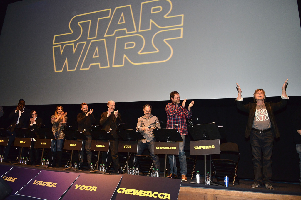 "LOS ANGELES, CA - DECEMBER 18:  Jason Reitman, Stephen Merchant, Dennis Haysbert, Ellen Page, Jessica Alba, Aaron Paul, J.K. Simmons, Kevin Pollack, Rainn Wilson and Mark Hamill perform a live reading at the Film Independent Live Read: ""The Empire Strikes Back"" at Ace Hotel on December 18, 2014 in Los Angeles, California.  (Photo by Araya Diaz/WireImage)"