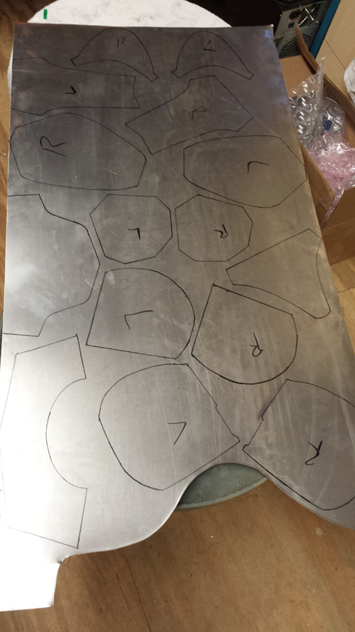 Armor patterns traced and ready to cut.  Many of these patterns I've created myself over the years.