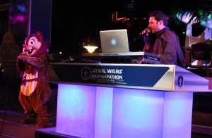 Chip the Ewok dances on the party stage.
