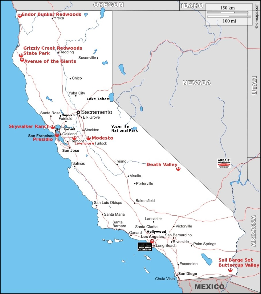 Map of California showing the shooting location and other important destinations.