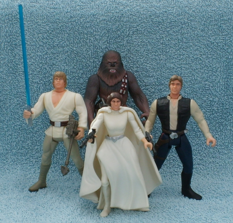 Hasbro Star Wars action figures - Luke, Leia, Han, and Chewie