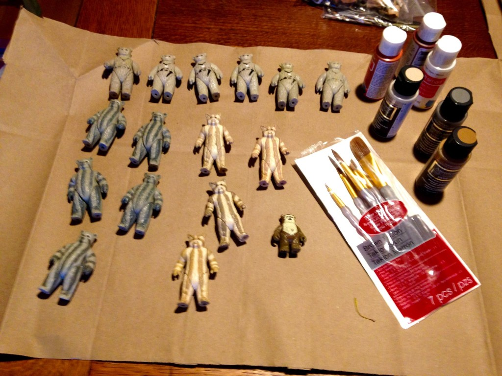 Preparing to paint a batch of figures to create new characters.
