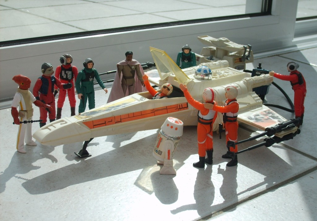 Kenner's vintage X-wing with Star Wars toys