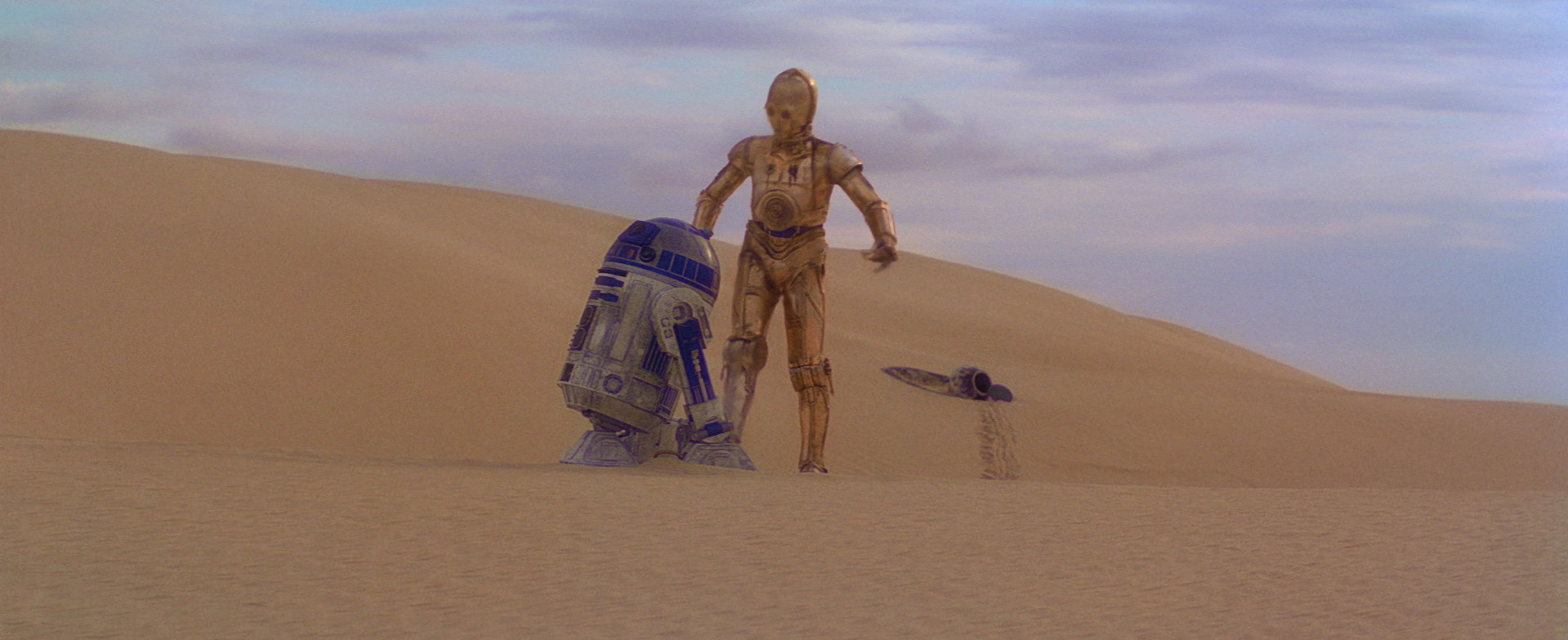 C-3PO and R2-D2 argue in A New Hope