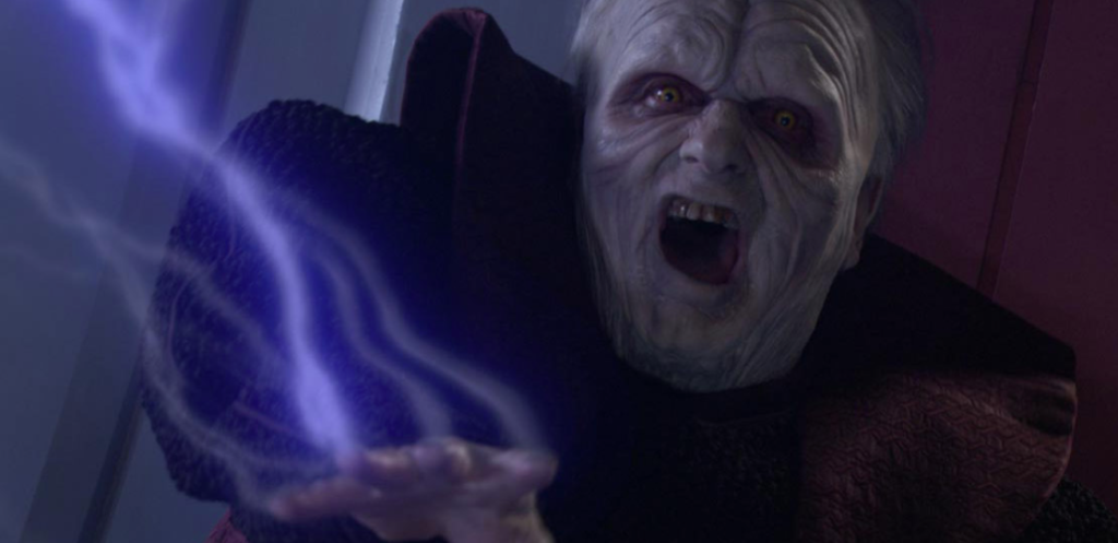 Darth Sidious uses Force lightning