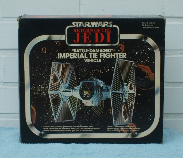 Tie fighter toy with battle damage - box cover