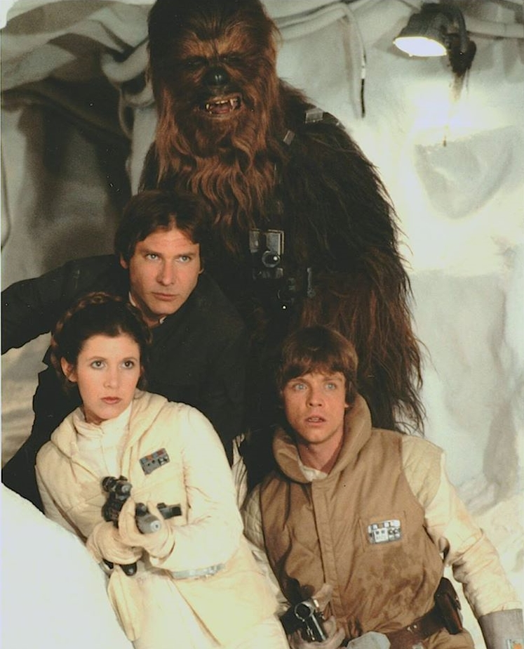 Han Solo, Princess Leia, Chewbacca, and Luke Skywalker on Hoth in The Empire Strikes Back