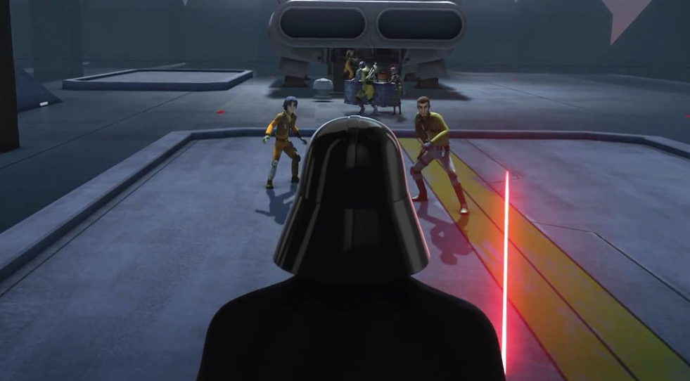 "Darth Vader vs. Kanan and Ezra in Star Wars Rebels ""The Siege of Lothal"""