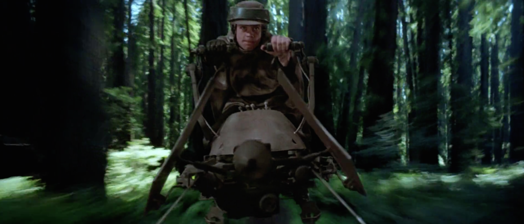 Luke on a speeder bike in Return of the Jedi