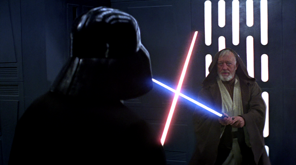 Darth Vader verus Obi-Wan Kenobi in Star Wars: A New Hope.
