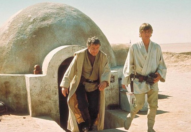 Uncle Owen and Luke Skywalker in Star Wars: A New Hope