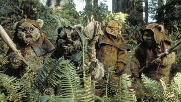 Ewoks on Endor in Star Wars: Return of the Jedi