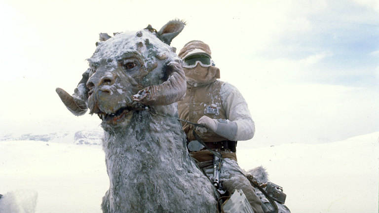 Luke Skywalker and tauntaun in Star Wars: The Empire Strikes Back