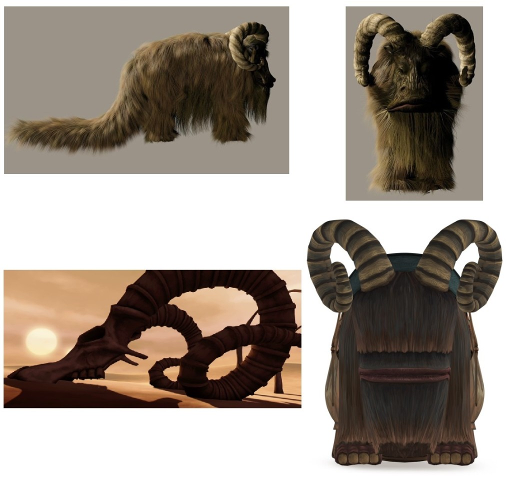 The digital bantha model for Star Wars: The Phantom Menace (top) and Star Wars: The Clone Wars (below)