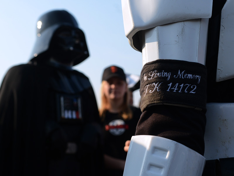 A Stormtrooper of the 501st Legion, with an armband reading: