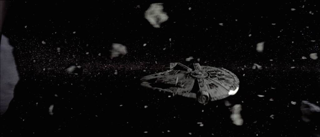 Millennium Falcon in the asteroid field