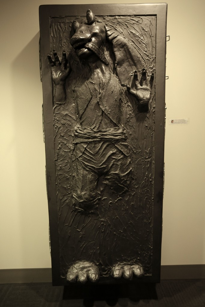 Jar Jar Binks frozen in carbonite at Lucasfilm