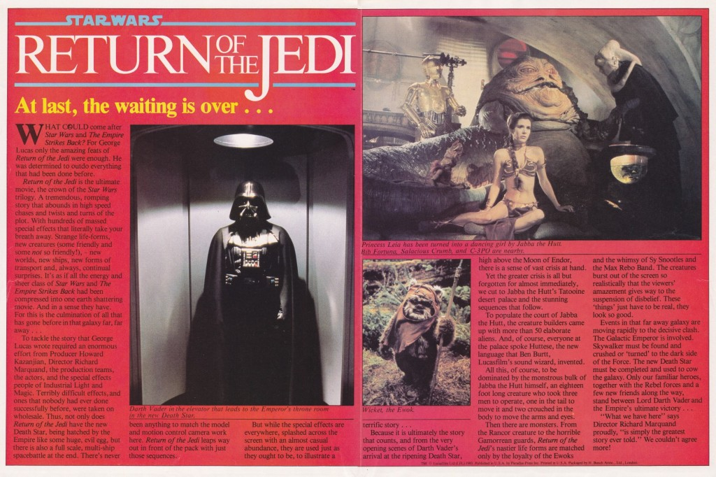 Return of the Jedi poster magazine - Darth Vader and Jabba the Hutt