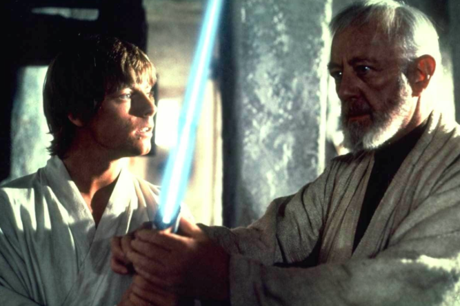 Luke and Obi-Wan in Star Wars: A New Hope